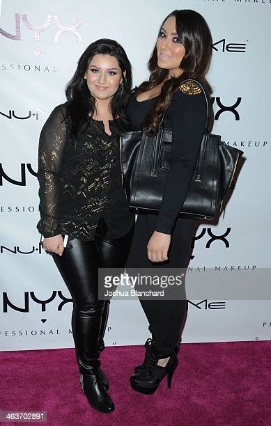 Dirtymelody and Makeup_by_jackie arrive at the NYX Cosmetics Spring 2014 Launch Event at Regne Haute Blow Dry Salon on January 18 2014 in Pasadena...