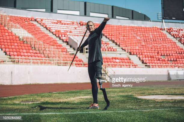 disability athlete skilled javelin thrower - men's field event stock pictures, royalty-free photos & images