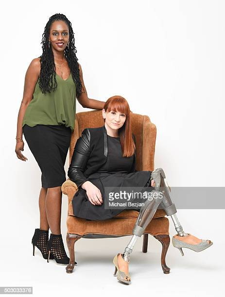 Disability fashion stylist Stephanie Thomas and actress/producer Katy Sullivan pose for portrait at The Starving Artists Project on December 23 2015...