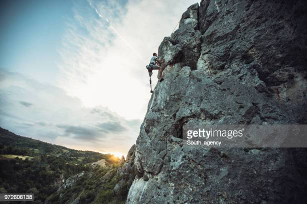 Disability guy free climbing