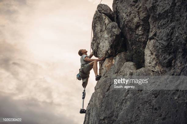 disability man climber - will power stock photos and pictures
