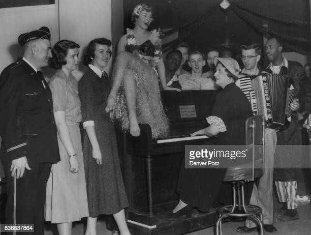 Disabled American Veterans From left Ralph Murphy Nancy Allison Joyce Barnes Nancy Negri Mrs Camille Doyle and John Barun Behind piano from left are...