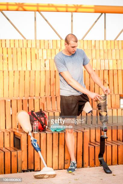 Disabled athlete preparing for sport activity