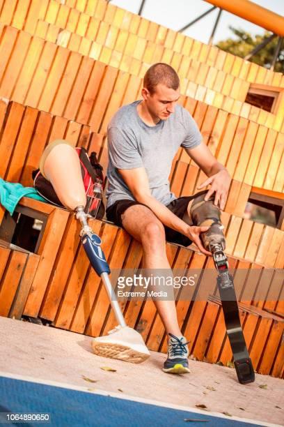 Disabled athlete preparing for training