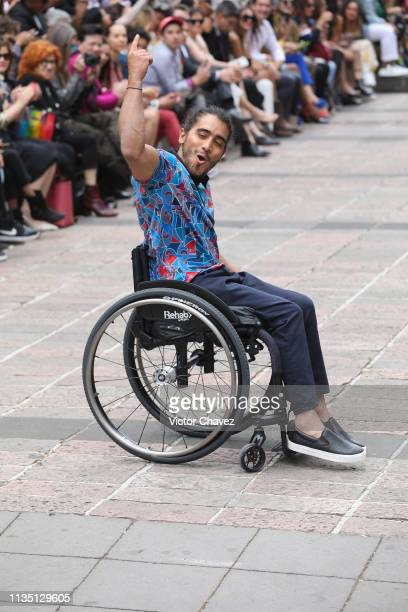 A disabled attends the runway during the Xico by Adriana Macias fashion show as part of the MercedesBenz Fashion Week Mexico Fall/Winter 2019 Day 5...