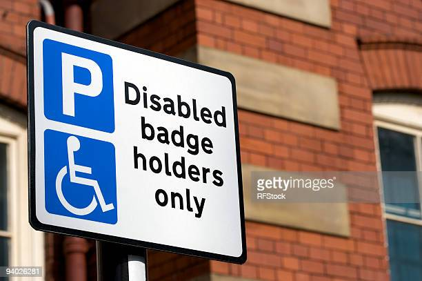 disabled badge holders only sign - disabled sign stock photos and pictures