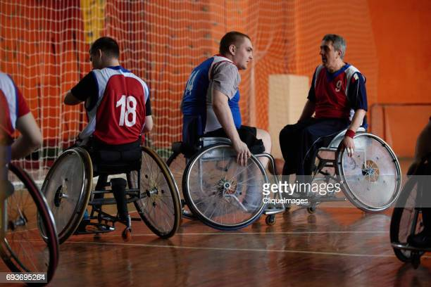 disabled basketball players on break - cliqueimages stock pictures, royalty-free photos & images