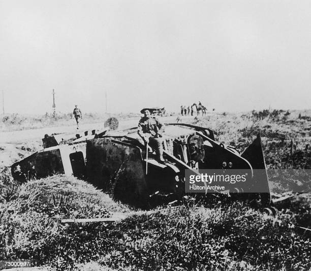 A disabled British Mark IV tank near Moevres during the Battle of Cambrai 20th November 3rd December 1917