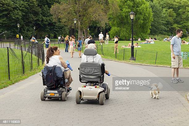 disabled couple walking the dog in central park - mobility scooter stock photos and pictures