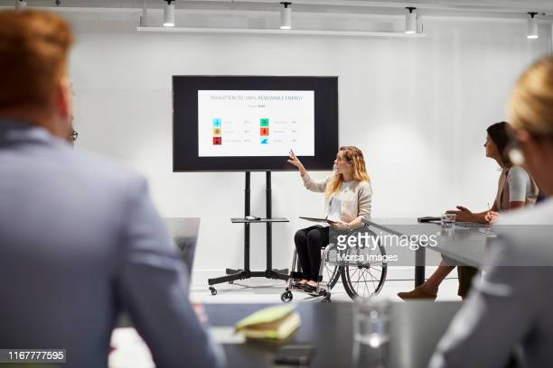 disabled executive giving presentation in meeting - micro organism stock pictures, royalty-free photos & images