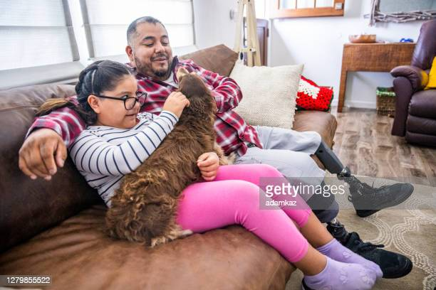 disabled father and daughter playing with long haired dachshund dog - adamkaz stock pictures, royalty-free photos & images