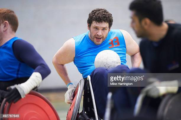 Disabled Male Athlete Playing Wheelchair Rugby