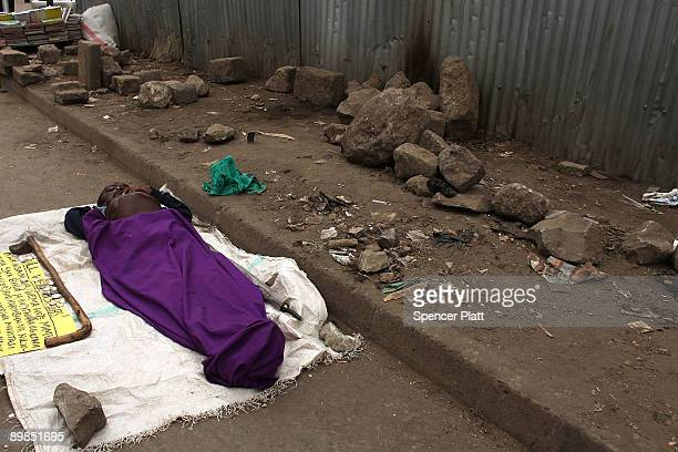 Disabled man begs for money in Eastleigh, a predominantly Muslim Somali neighborhood on August 18, 2009 in Nairobi, Kenya. Referred to locally as...