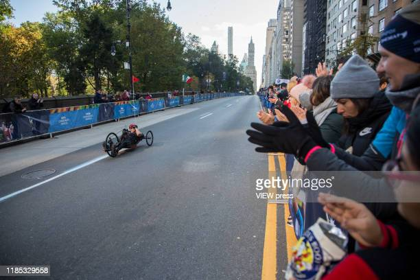 A disabled man competes in the New York City Marathon on November 3 2019 in New York City