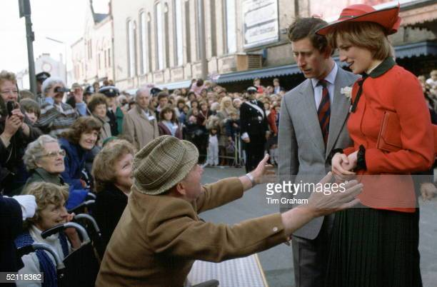 Disabled Man In A Wheelchair In Rhyl Reaching Out To Prince Charles And Princess Diana On Her First Official Visit To Wales Where He Was Part Of A...