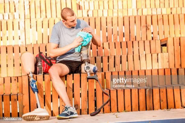 Disabled man preparing for training