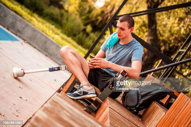 Disabled man resting after exercise