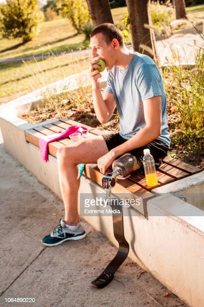 Disabled man resting after training