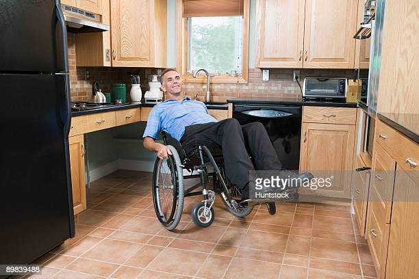 Disabled man sitting in a wheelchair