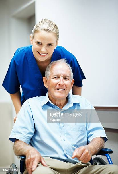 Disabled man with a caring nurse