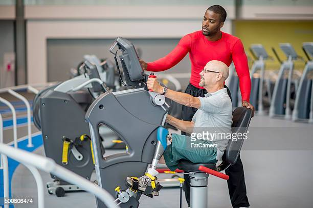 Disabled Man Working Out at the Gym