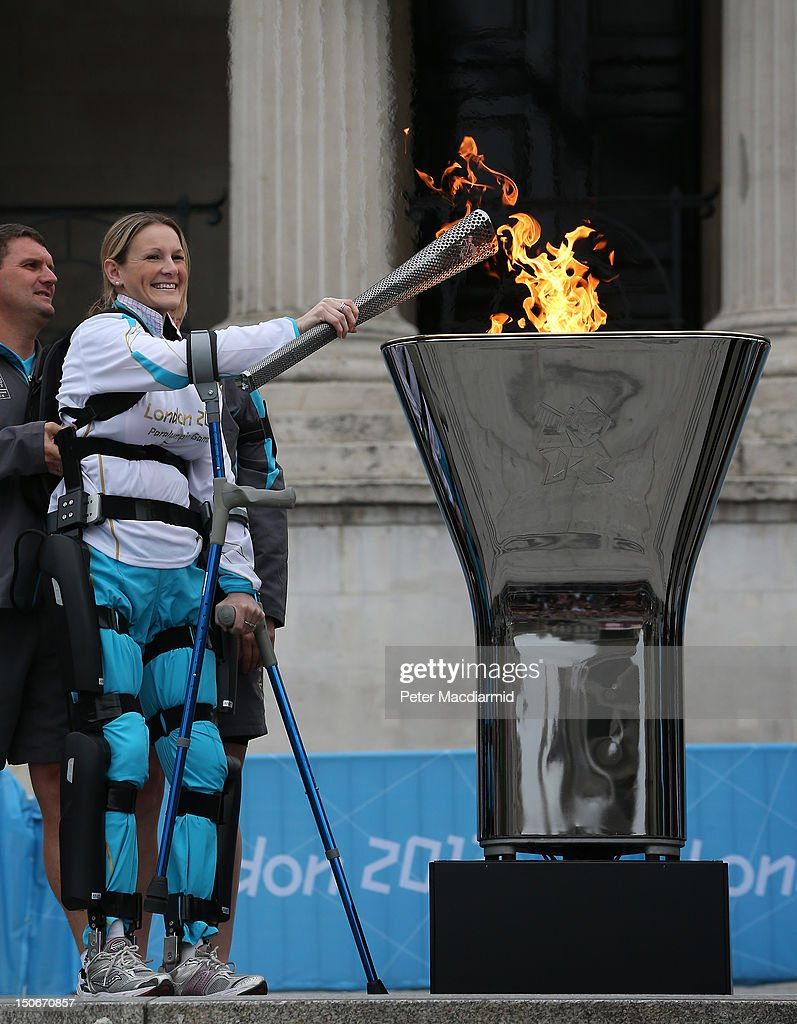 Disabled marathon runner Claire Lomas lights the Olympic cauldron for the Paralympic Games in Trafalgar Square on August 24, 2012 in London, England. The London 2012 Paralympic Games open on August 29, 2012 for 12 days.