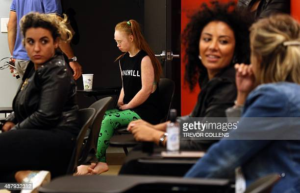 Disabled model Madeline Stuart from Brisbane Australia takes part in a makeup seminar during rehearsals for the FTL MODA presentation at New York...