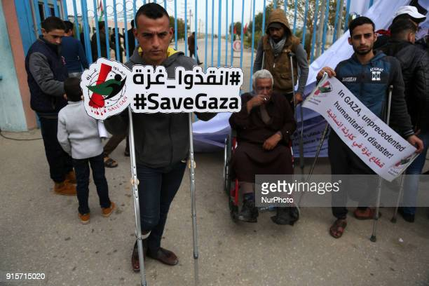 Disabled Palestinians take part in a protest against the siege on the Gaza Strip on Beit Hanoun border crossing in the northern Gaza Strip on...