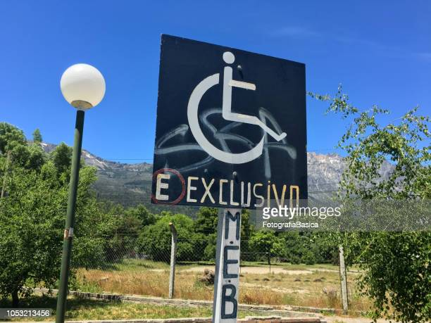 Disabled parking next to the mountains