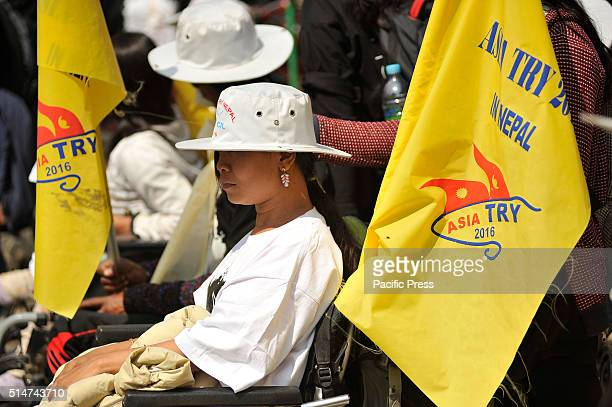 Disabled participants from different Asian Countries rally on their wheel chairs during the International Mega Campaign of Persons with Disabilities...