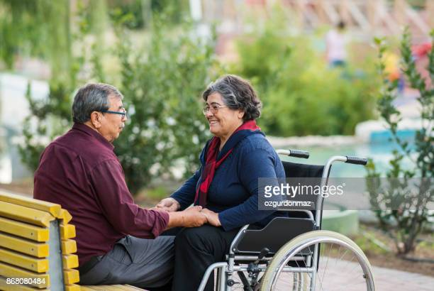 disabled senior couple - turkey middle east stock pictures, royalty-free photos & images