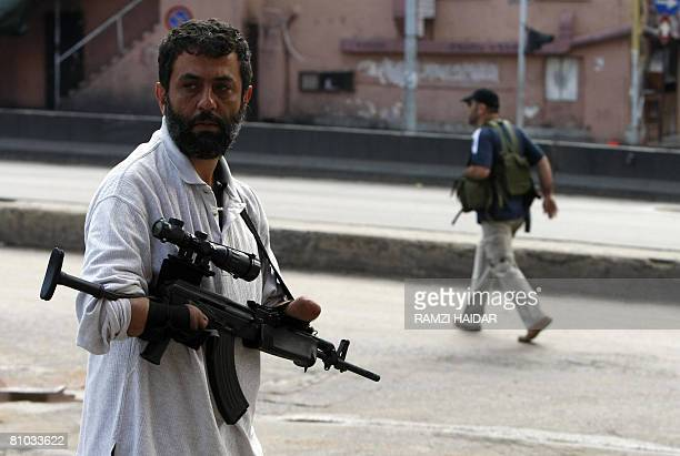 A disabled Shiite gunman roams in the streets of Beirut on May 9 2008 Hezbollah fighters seized control of rival progovernment strongholds in Beirut...