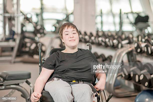 Disabled Young Adult Exercising