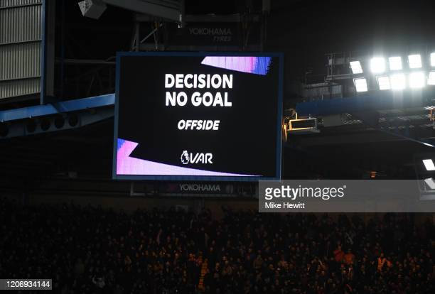 Disallows a goal scored by Olivier Giroud of Chelsea during the Premier League match between Chelsea FC and Manchester United at Stamford Bridge on...