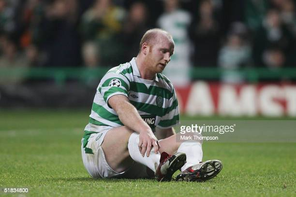 A disapointed John Hartson of Celtic during the UEFA Champions League Group F match between Celtic and AC Milan at Celtic Park on December 7 2004 in...