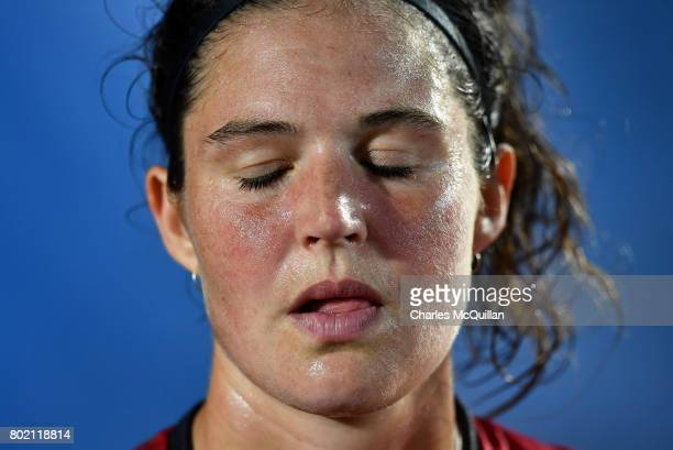 A disappointed Anouk Raes of Belgium after the FINTRO Women's Hockey World League SemiFinal Pool B game between Belgium and Spain on June 27 2017 in...
