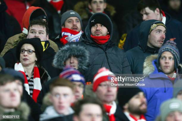 Disappointed Arsenal fans during the Premier League match between Arsenal and Manchester City at Emirates Stadium on March 1 2018 in London England