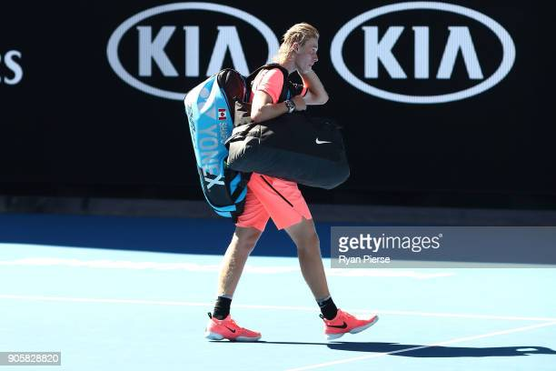 A disappointed Denis Shapovalov of Canada walks off the court after losing his second round match against JoWilfried Tsonga of France on day three of...