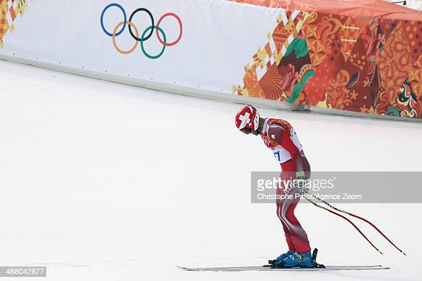 A disappointed Didier Defago of Switzerland during the Alpine Skiing Men's Downhill at the Sochi 2014 Winter Olympic Games at Rosa Khutor Alpine...