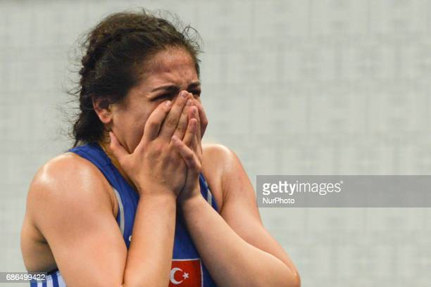 Disappointed Hafize Sahin of Turkey after she loses her final against Blessing Oborududu of Nigeria in the Women's Freestyle 63kg during Baku 2017...
