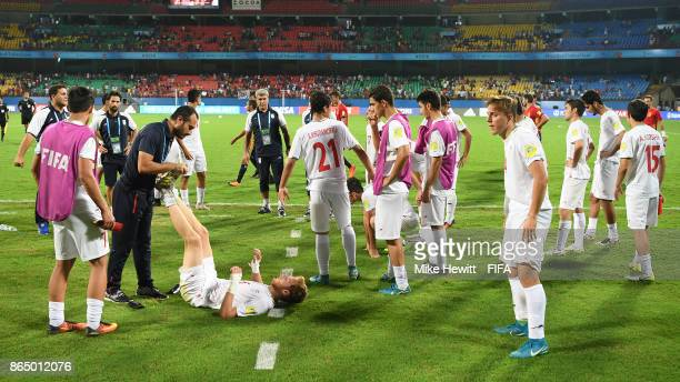 A disappointed Iran team after the FIFA U17 World Cup India 2017 Quarter Final match between Spain and Iran at the Jawaharlal Nehru International...