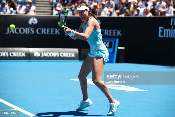A disappointed Johanna Konta of Great Britain plays a backhand in her second round match against Bernarda Pera of the United States on day four of...