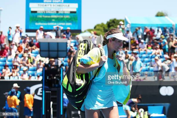 A disappointed Johanna Konta of Great Britain walks off the court after losing her second round match against Bernarda Pera of the United States on...