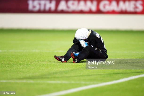 Disappointed Jordan's goalkeeper Misda Ramounieh after the 15th Asian Games Doha Women's Preliminary Round Group A match between China and Jordan in...