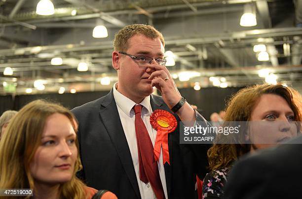 Disappointed Labour Party supporters listen to Labour MP Caroline Flint speak at Doncaster Racecourse northern England on May 8 2015 Prime Minister...