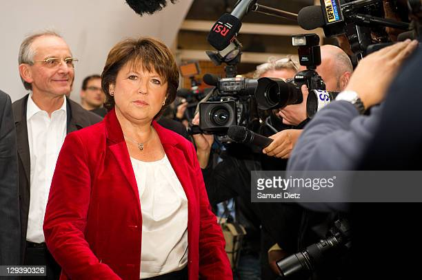 A disappointed Martine Aubry addresses the media at the French Socialist Party's headquarters at Solferino Street on October 16 2011 in Paris France...