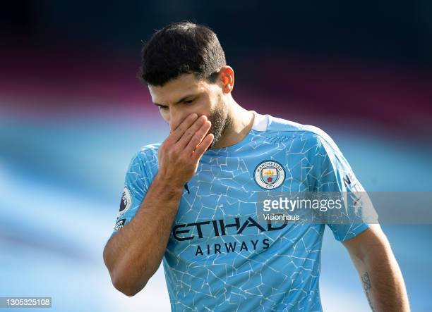 Disappointed Sergio Agüero of Manchester City walks off after being substituted during the Premier League match between Manchester City and West Ham...