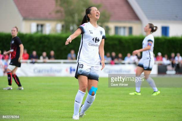 Disappointment for Ami Otaki of Paris FC as she shoots wide during women's Division 1 match between FC Fleury 91 and Paris FC on September 3 2017 in...