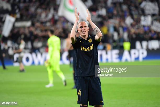Disappointment for Andrea Raggi of Monaco as his side lose the Uefa Champions League match semi final second leg between Juventus FC and As Monaco at...