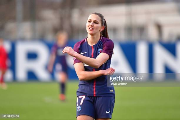 Disappointment for Eve Perisset of PSG after she shoots wide during the Women's Division 1 match between Paris Saint Germain and Paris FC on March 12...